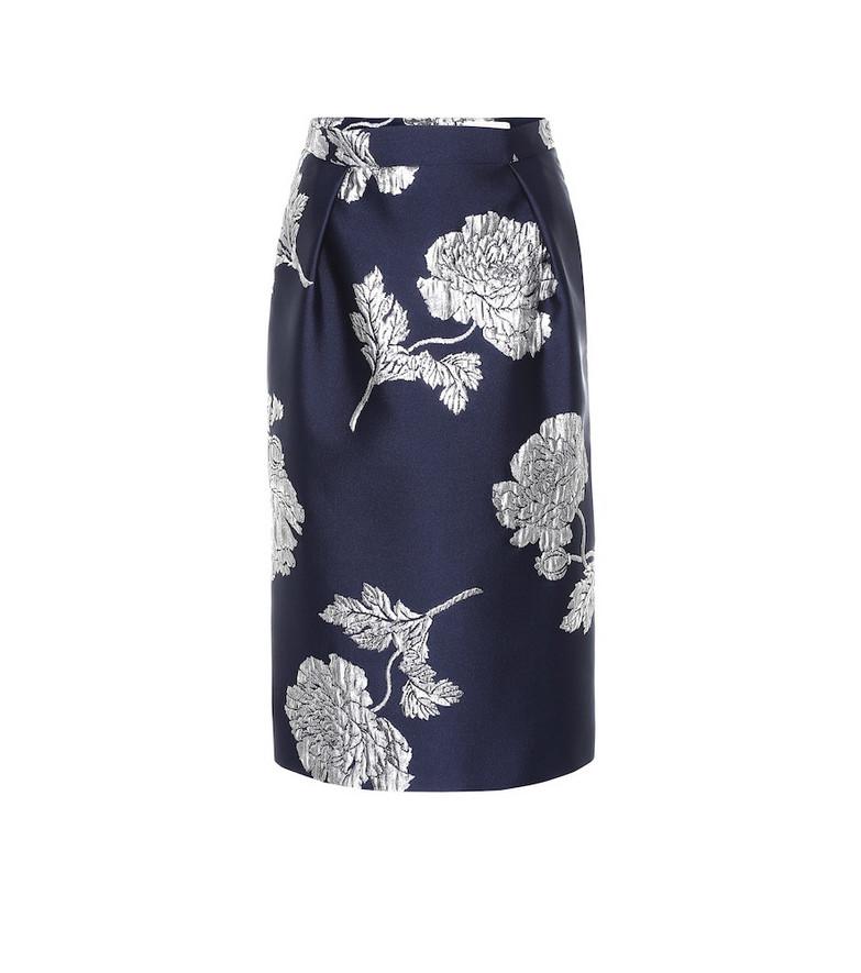 Alexander McQueen Brocade silk-blend pencil skirt in blue