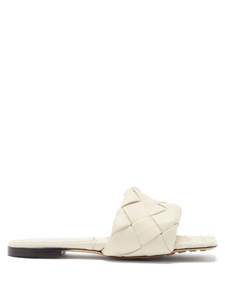 Bottega Veneta - Lido Intrecciato-leather Slides - Womens - White