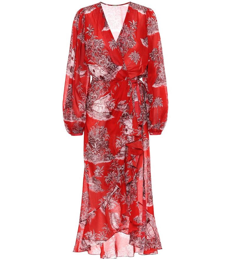 Johanna Ortiz Printed cotton wrap dress in red