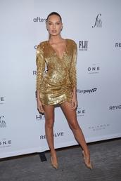dress,mini dress,sequins,sequin dress,gold,gold sequins,gold dress,romee strijd,model off-duty