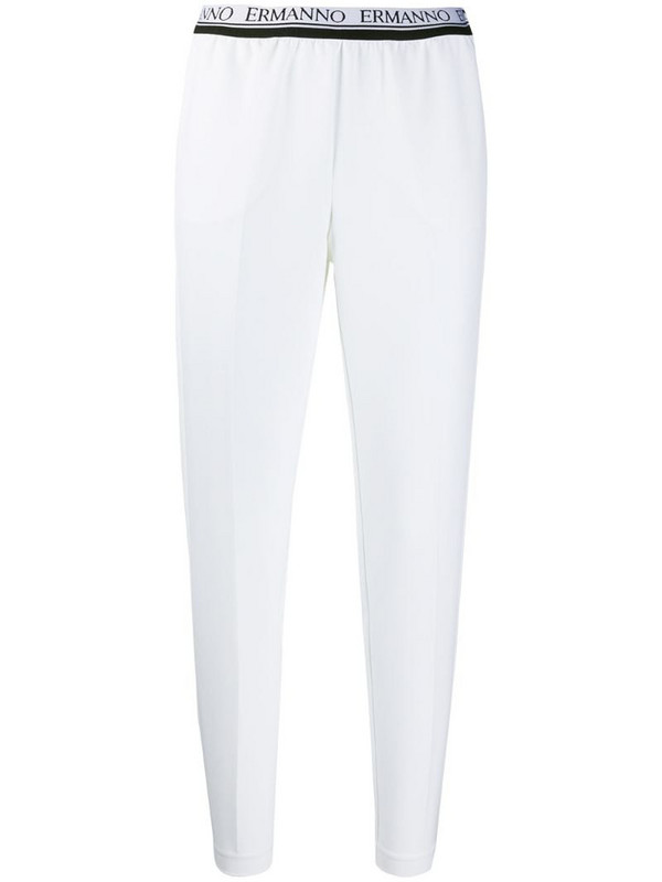 Ermanno Ermanno logo waistband cropped trousers in white