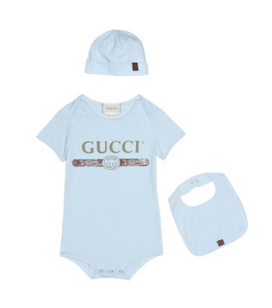 Gucci Kids Cotton onesie, bib and hat set in blue