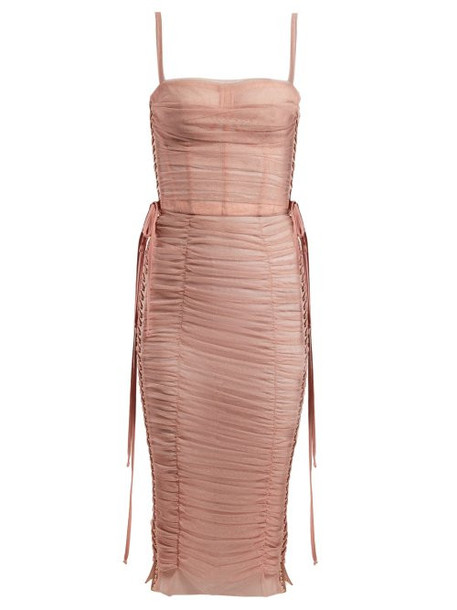 Dolce & Gabbana - Laced Ruched Tulle Dress - Womens - Pink