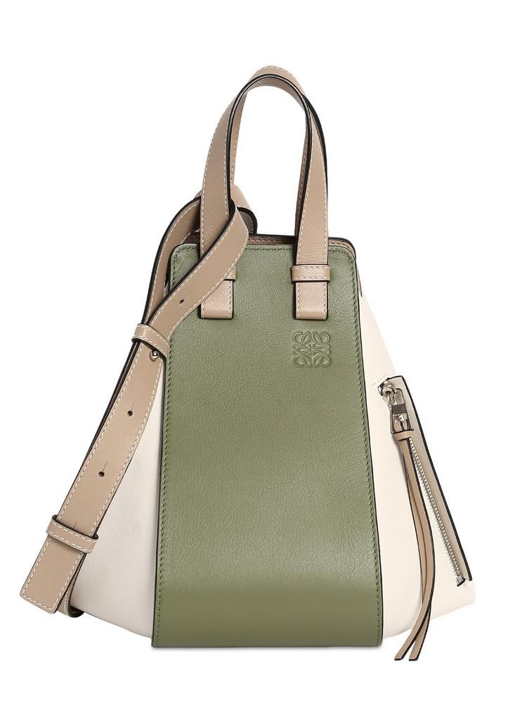 LOEWE Small Hammock Leather Top Handle Bag in green / sand