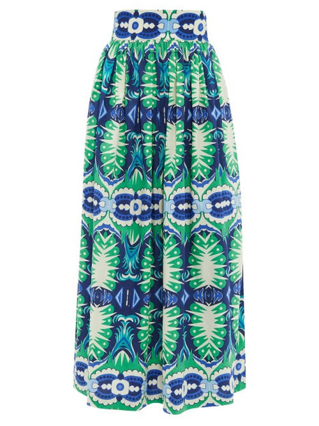 Le Sirenuse, Positano - Jane Fish Tail-print Cotton-poplin Midi Skirt - Womens - Green Print