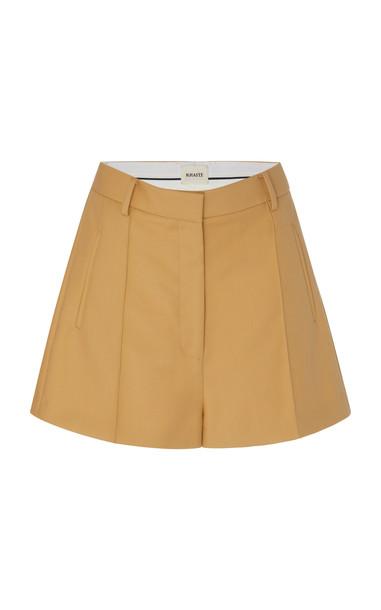 Khaite Casey Pleated Cotton-Gabardine Shorts in neutral