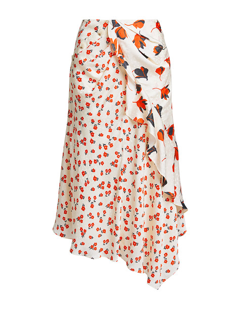Self-portrait Floral Asymmetric Ruched Midi Skirt Red/white