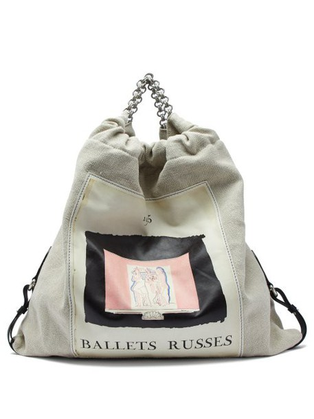Acne Studios - Ballet Print Gathered Linen Canvas Bag - Womens - Cream Multi