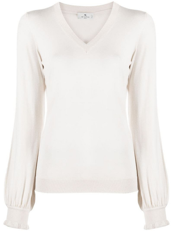 Etro bell sleeve knitted top in neutrals