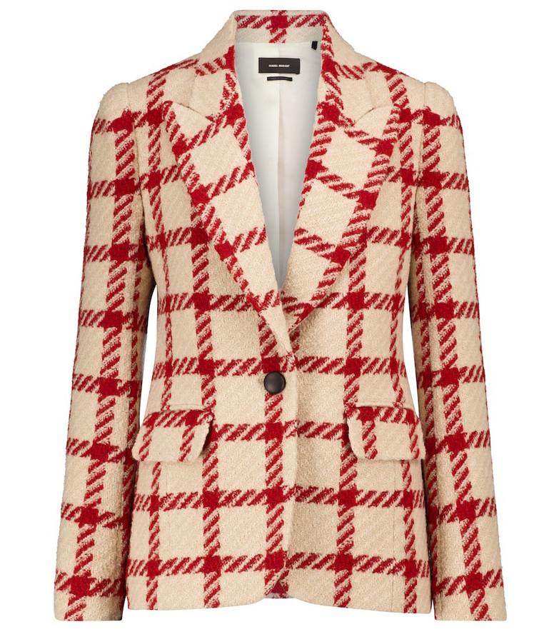 Isabel Marant Kioa checked wool-blend blazer in beige