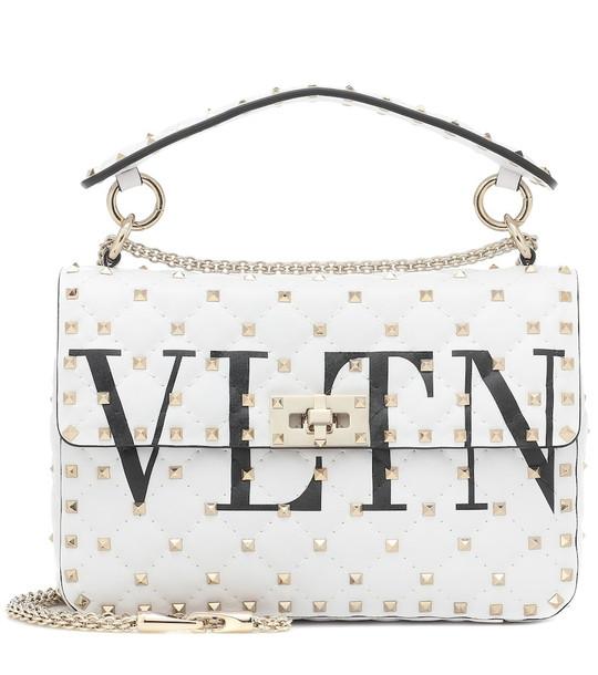 Valentino Garavani Rockstud Spike Medium VLTN leather shoulder bag in white