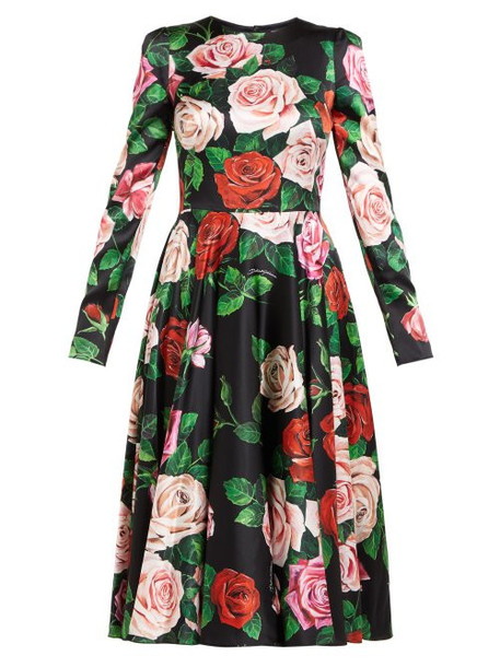 Dolce & Gabbana - Rose Print Silk Blend Charmeuse Midi Dress - Womens - Black Multi