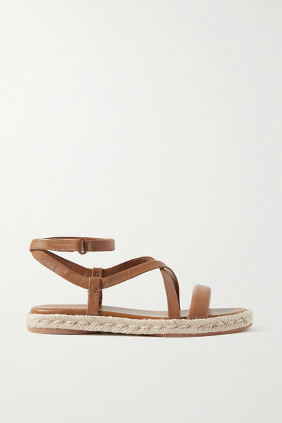 VINCE - Smith Leather Espadrille Sandals - Brown