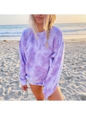shirt,tie dye,purple,beach,sweatshirt,summer,shorts,comfy