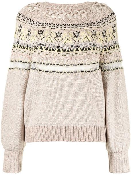 Mame Kurogouchi intarsia-knit jumper in white