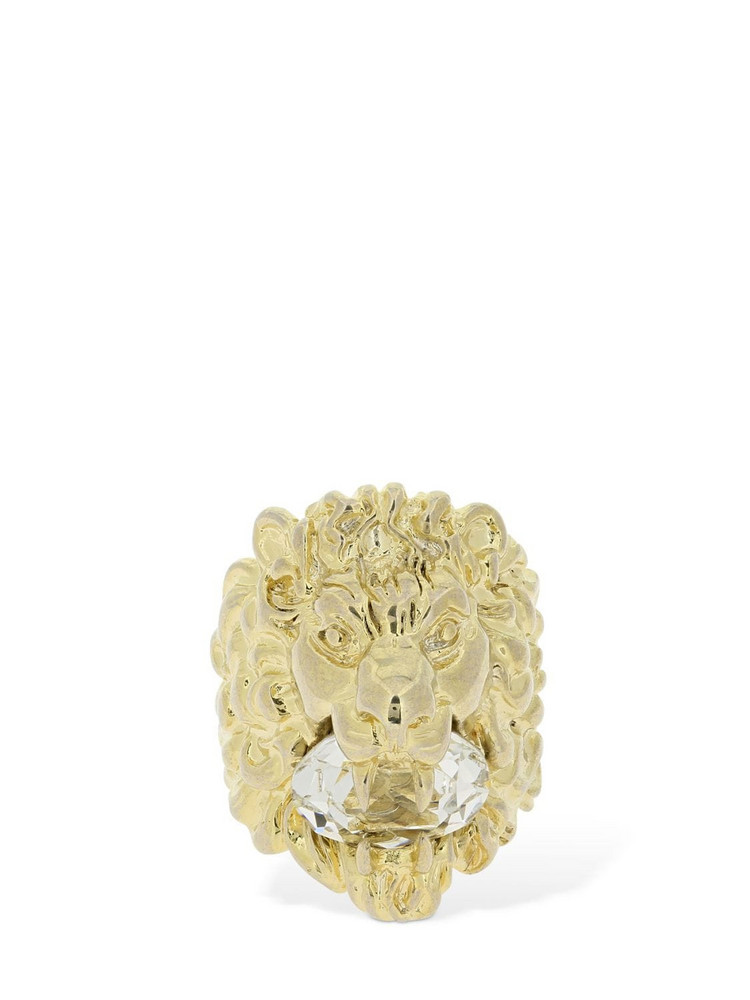 GUCCI Lionhead Ring W/ Crystal in gold
