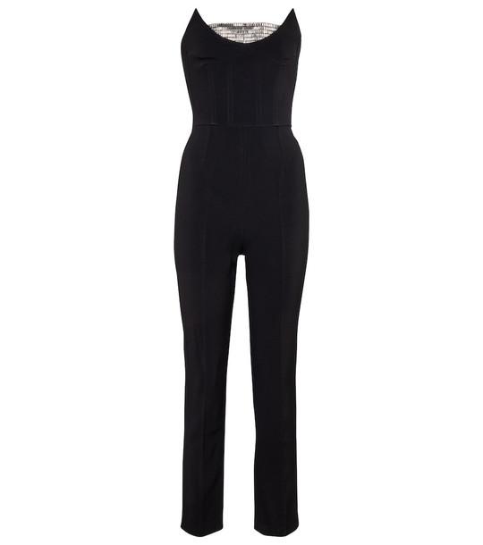 David Koma Embellished strapless cady jumpsuit in black