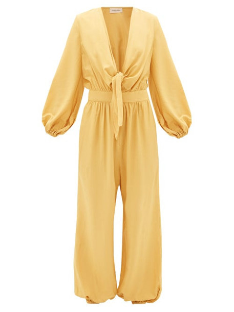 Adriana Degreas - Plunge Tie-front Elasticated-cuff Jumpsuit - Womens - Yellow