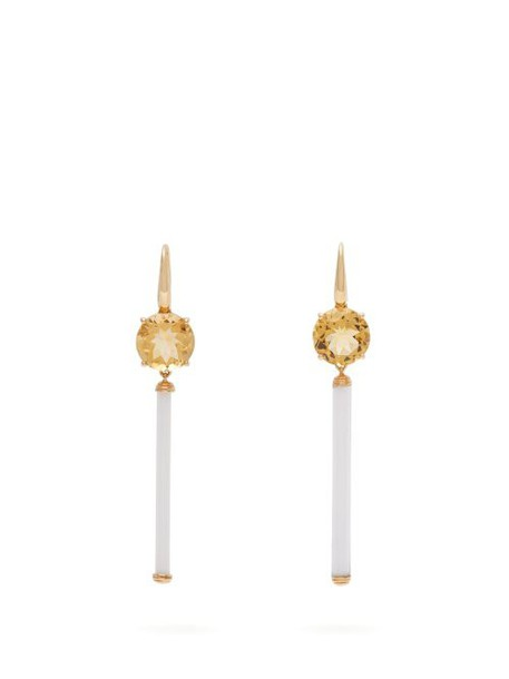 Francesca Villa - Citrine, Venetian Bugle & Gold Drop Earrings - Womens - Yellow