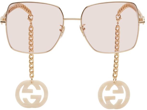 Gucci Gold & Pink Square Chain Sunglasses