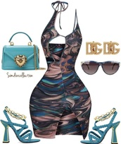 dress,marble,brown,blue,tie dye dress,strappy,mini dress,curvy dress,halter neck