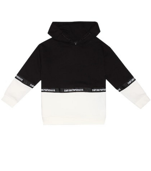 Emporio Armani Kids Cotton-blend jersey hoodie in black