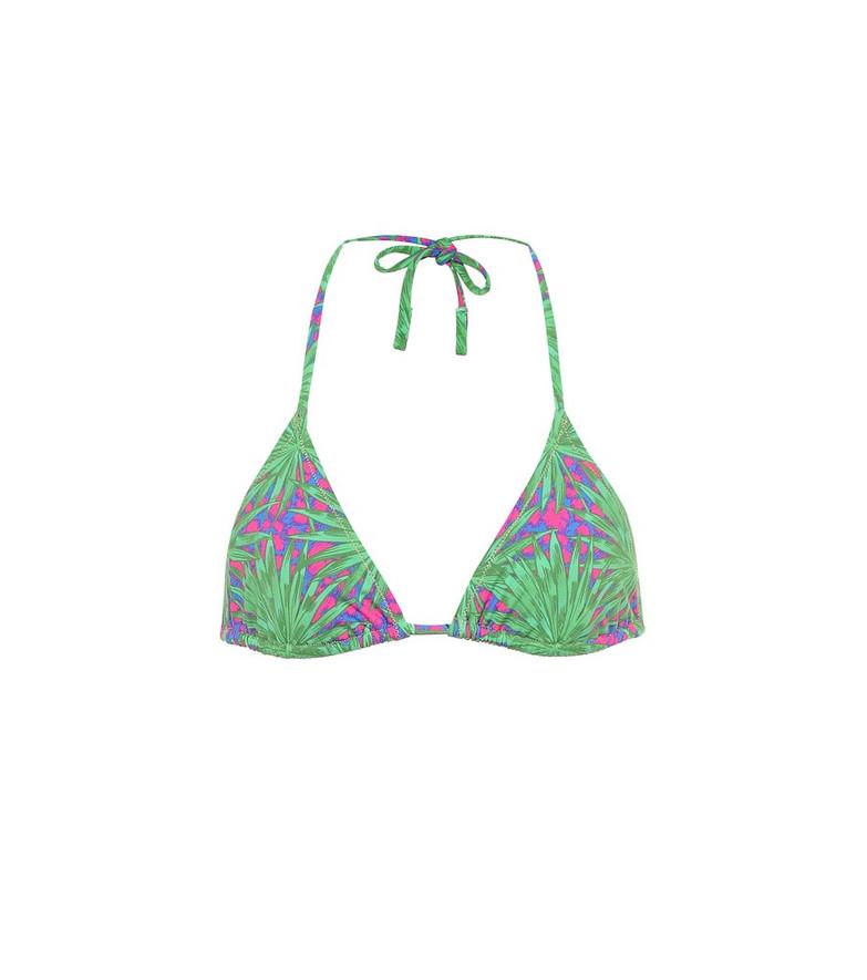 Reina Olga Love Triangle printed bikini top in green