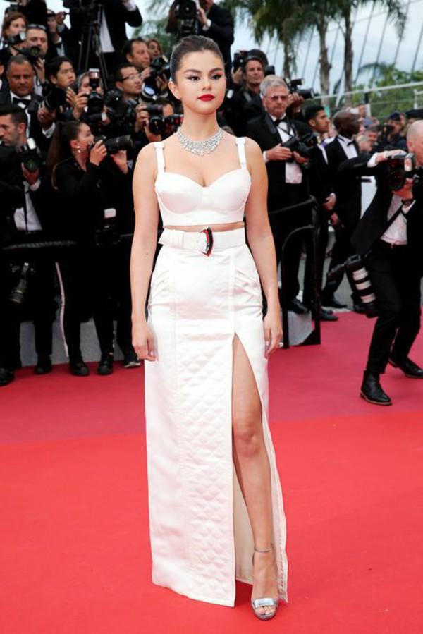 shoes silver sandals sandal heels celebrity cannes red carpet dress crop tops top bustier skirt slit skirt