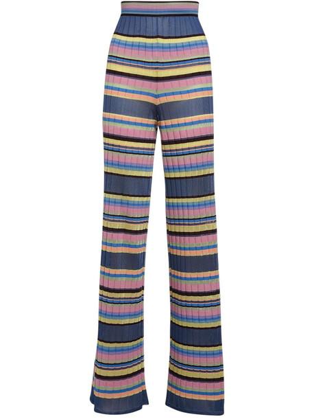 M MISSONI Stripes Ribbed Knit Viscose Blend Pants in navy / multi