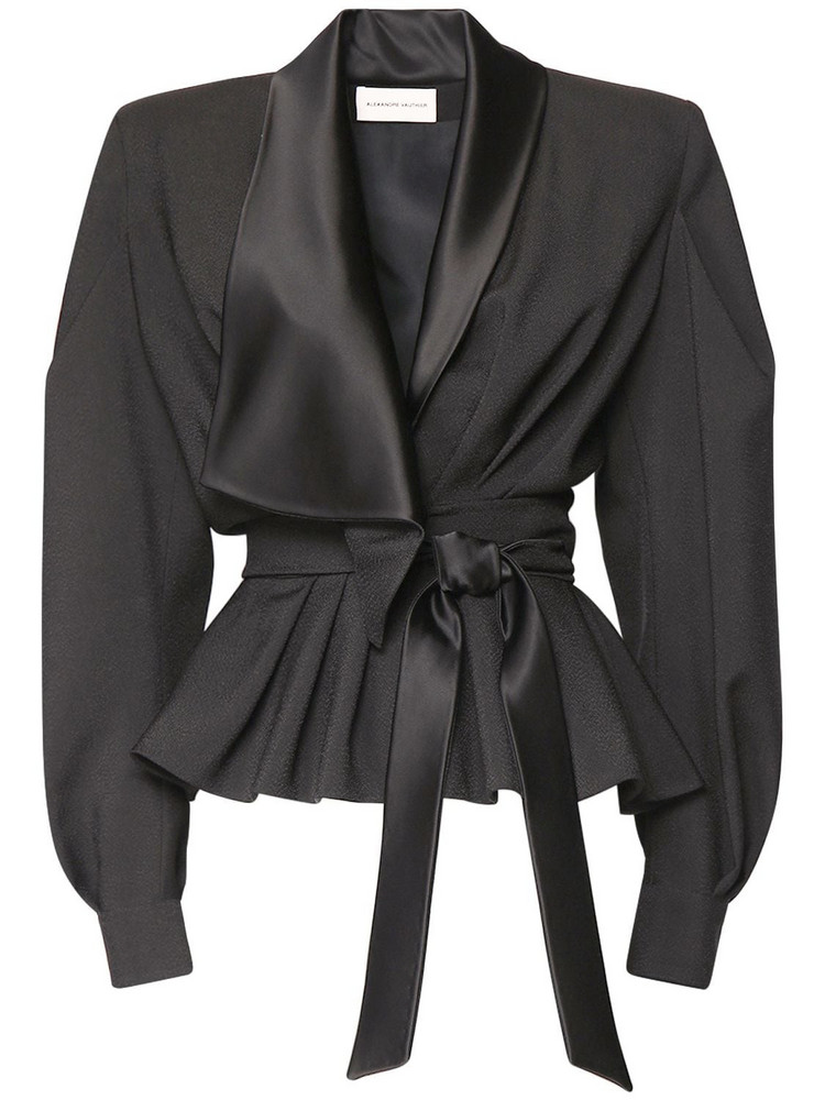 ALEXANDRE VAUTHIER Textured Crepe Wrap Jacket in black