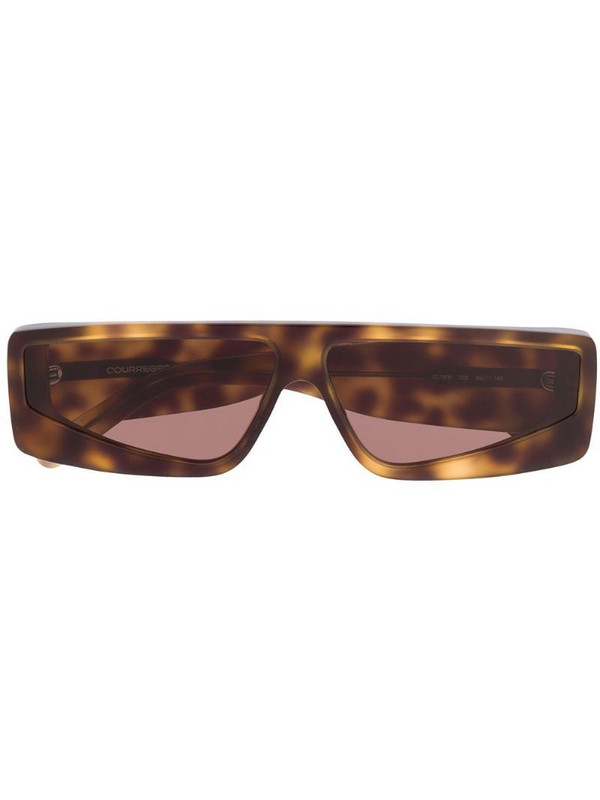 Courrèges Eyewear tortoiseshell-effect sunglasses in brown