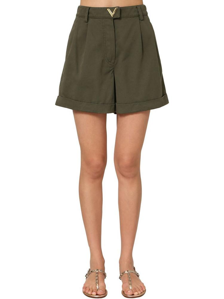 VALENTINO Metal V Logo Cotton Canvas Shorts in green