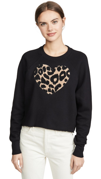 SUNDRY Raglan Cut Off Sweatshirt in black