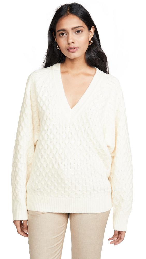 Jason Wu Wool Blend V Neck Sweater in white