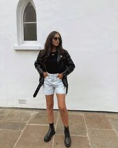 shorts,white shorts,black leather jacket,black boots,black top
