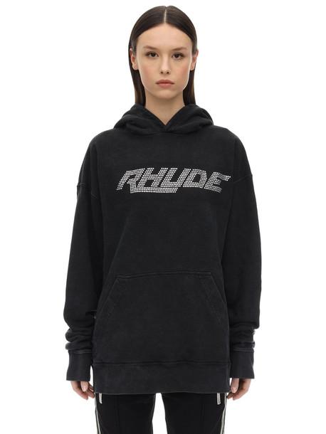 Rhude Swarovski Sweatshirt Hoodie in black