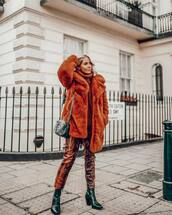 pants,snake print pants,black boots,ankle boots,orange coat,faux fur coat,gucci bag,black bag,turtleneck sweater,casual,streetstyle