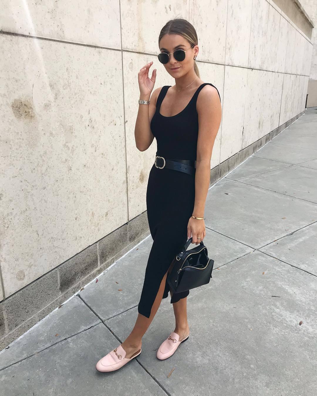 dress midi dress slit dress bodycon dress mules black bag handbag black belt