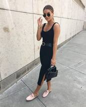 dress,midi dress,slit dress,bodycon dress,mules,black bag,handbag,black belt