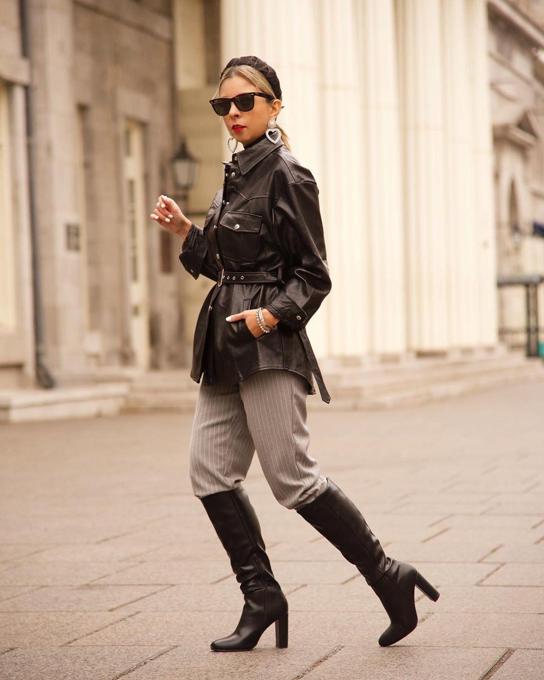 jacket black leather jacket black boots knee high boots striped pants