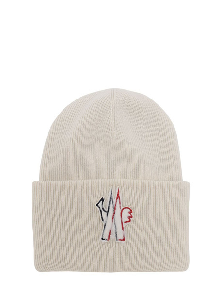 MONCLER GRENOBLE Macro Logo Wool Tricot Hat in white
