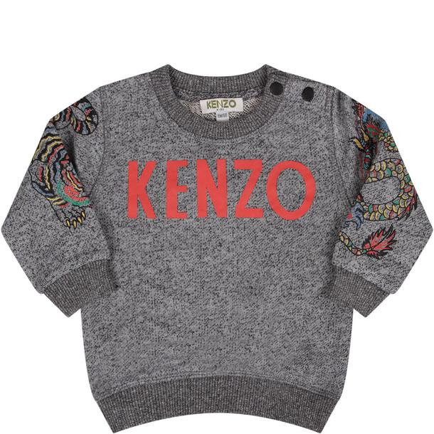 Kenzo Kids Melange Grey Babyboy Sweatshirt With Red Logo