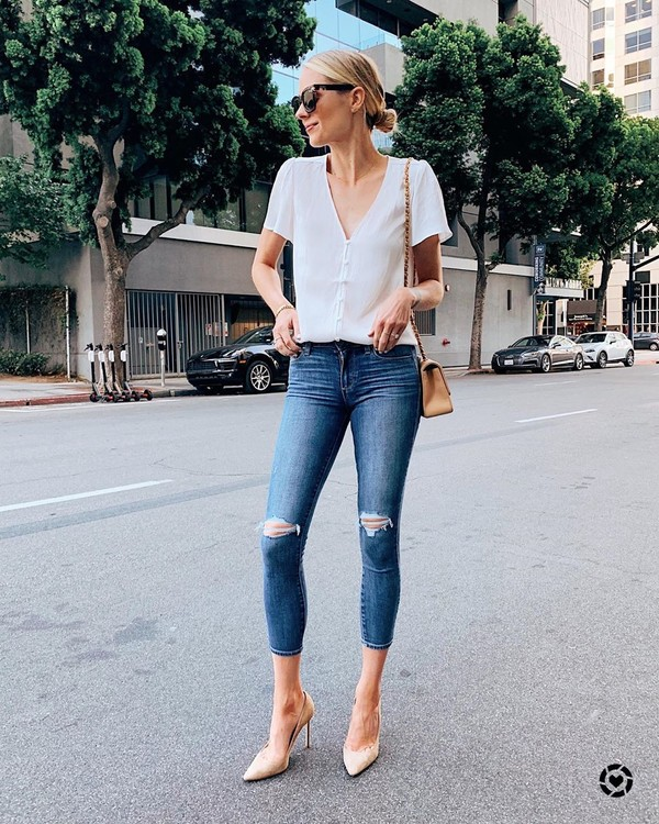 jeans skinny jeans ripped jeans pumps white blouse bag