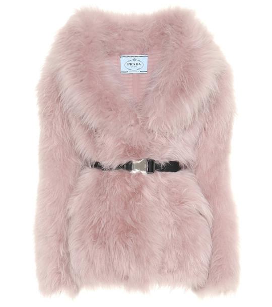 Prada Belted fur jacket in pink