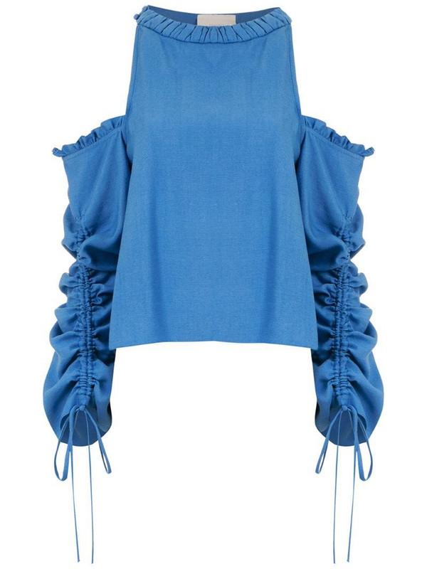 Framed Athena long sleeved top in blue