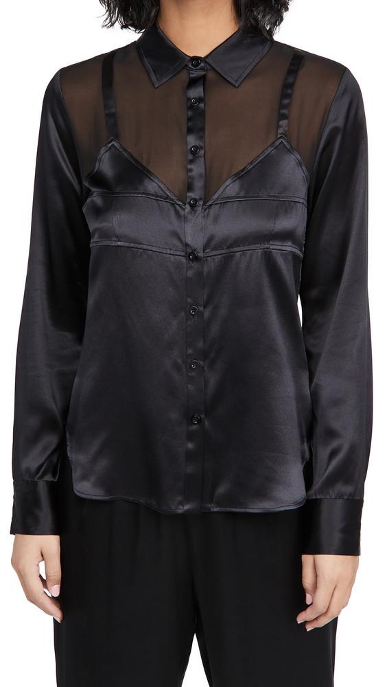 Fleur du Mal Silk Bra Detail Shirt in black