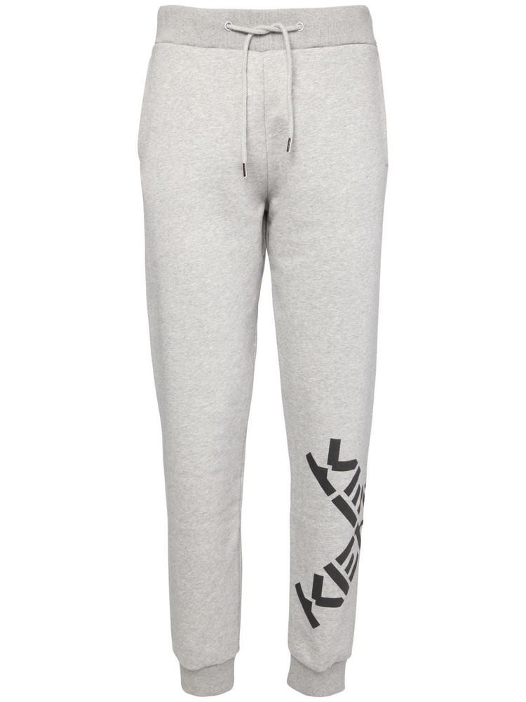 KENZO Logo Print Cotton Blend Sweatpants in grey