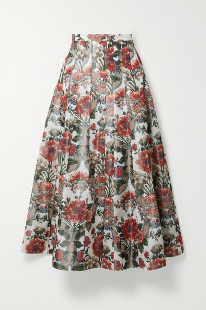 Brock Collection - Sonia Pleated Floral-print Taffeta Midi Skirt - Green