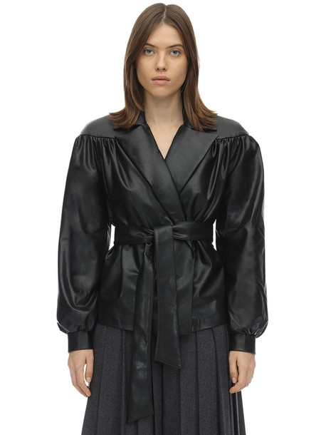 LESYANEBO Ruffled Faux Leather Jacket W/ Belt in black