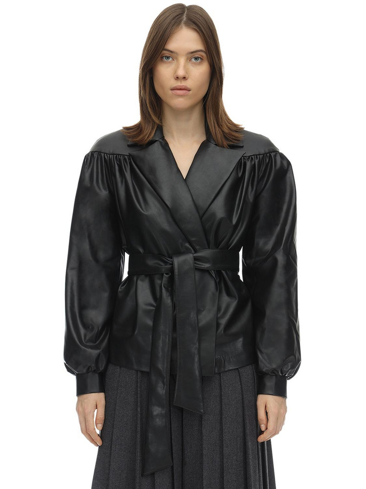 LESYANEBO Ruffled Faux Leather Jacket W/ Belt in black
